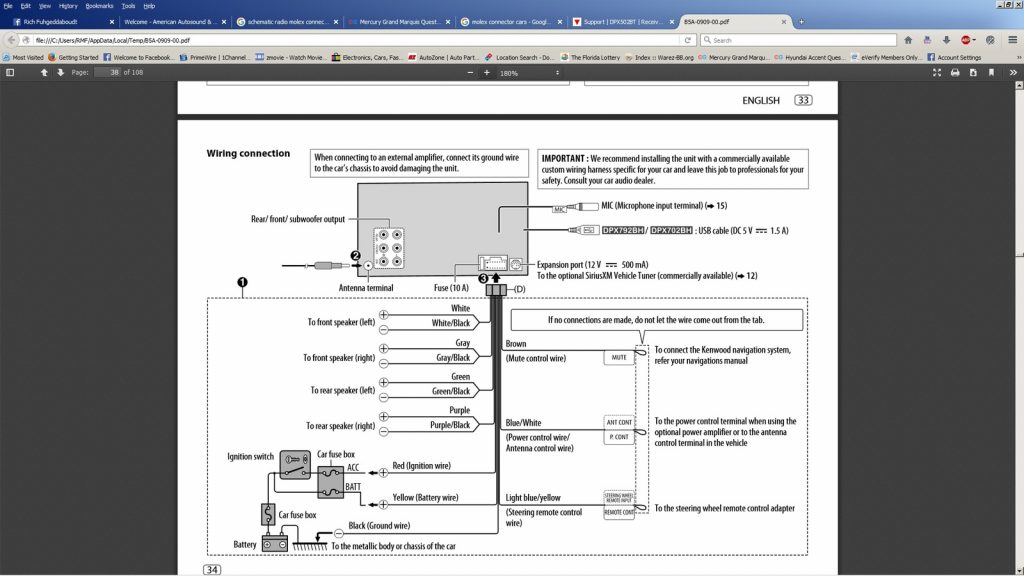 Diagram  1997 Mercury Grand Marquis Radio Wiring Diagram