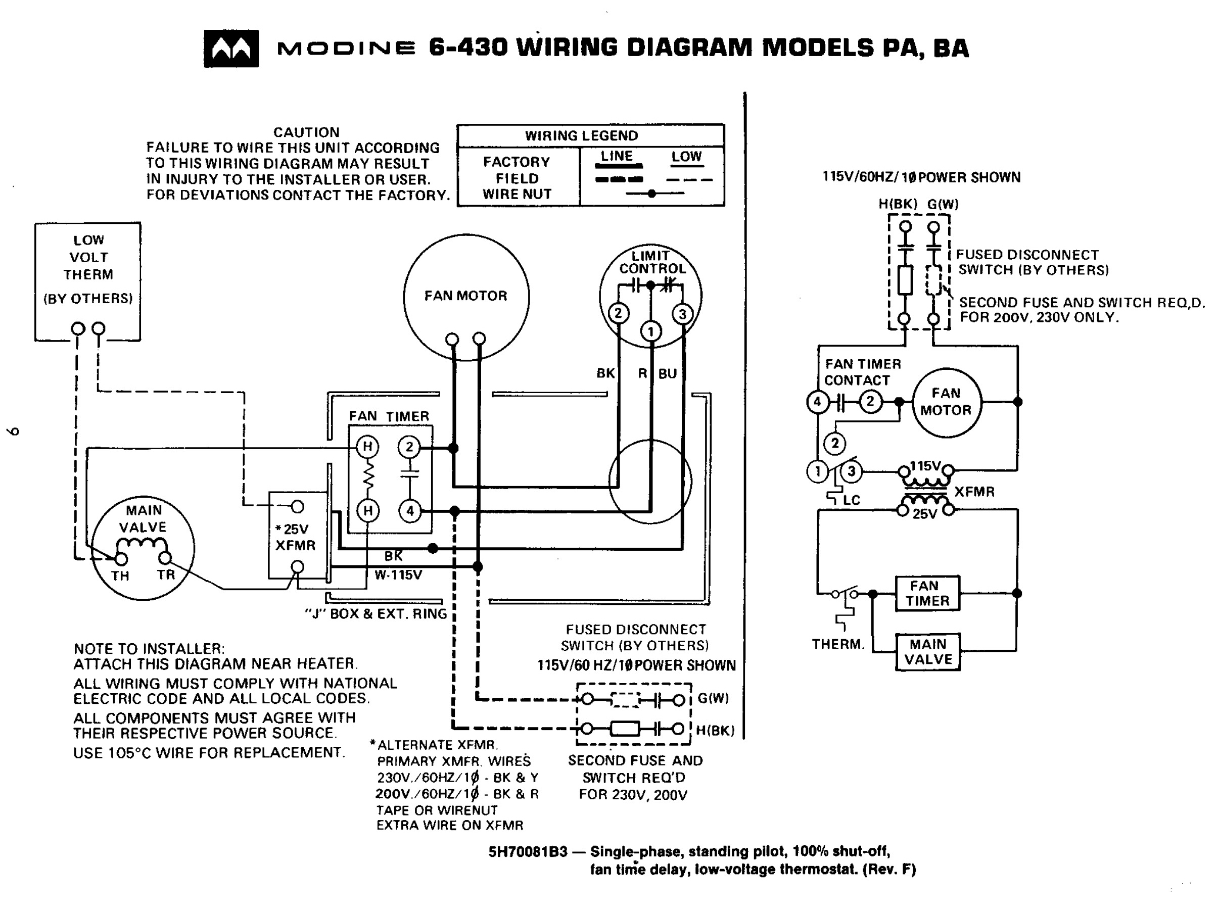 Modine Garage Heater Wiring Diagram | Manual E-Books - Modine Gas Heater Wiring Diagram