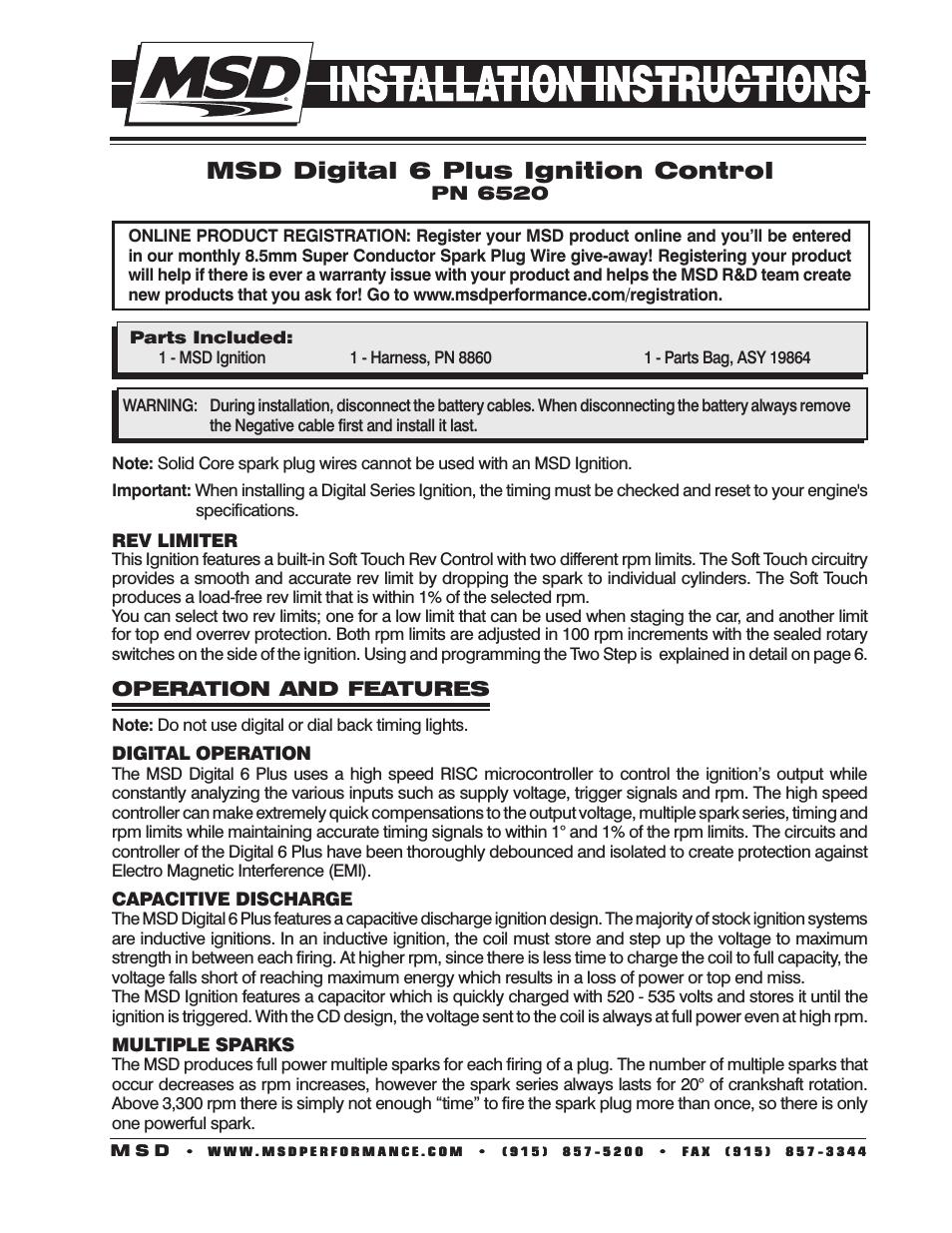 Msd 6520 Digital 6-Plus Ignition Control Installation User Manual - Msd Digital 6 Plus Wiring Diagram