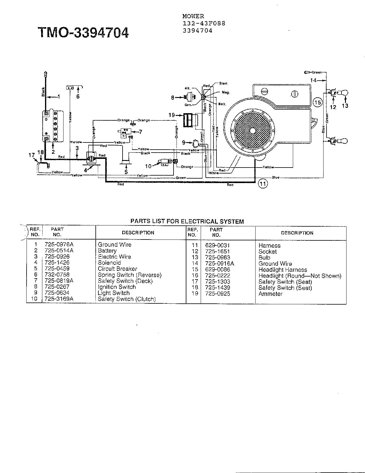 Mtd Model 132-431F088 Lawn, Tractor Genuine Parts - Mtd Riding Lawn Mower Wiring Diagram