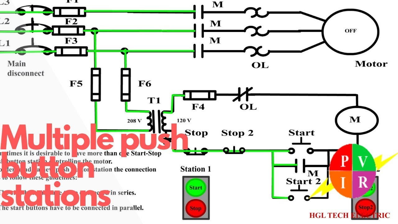 Multiple Push Button Stations. Three Wire Control Multiple Stations - Start Stop Switch Wiring Diagram
