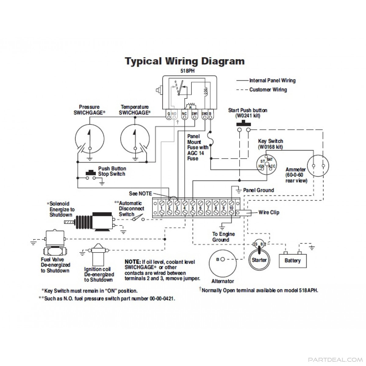 Murphy-Murphy Swichgage Shutdown Panel Kit 12V With Start/stop - Oil Pressure Switch Wiring Diagram