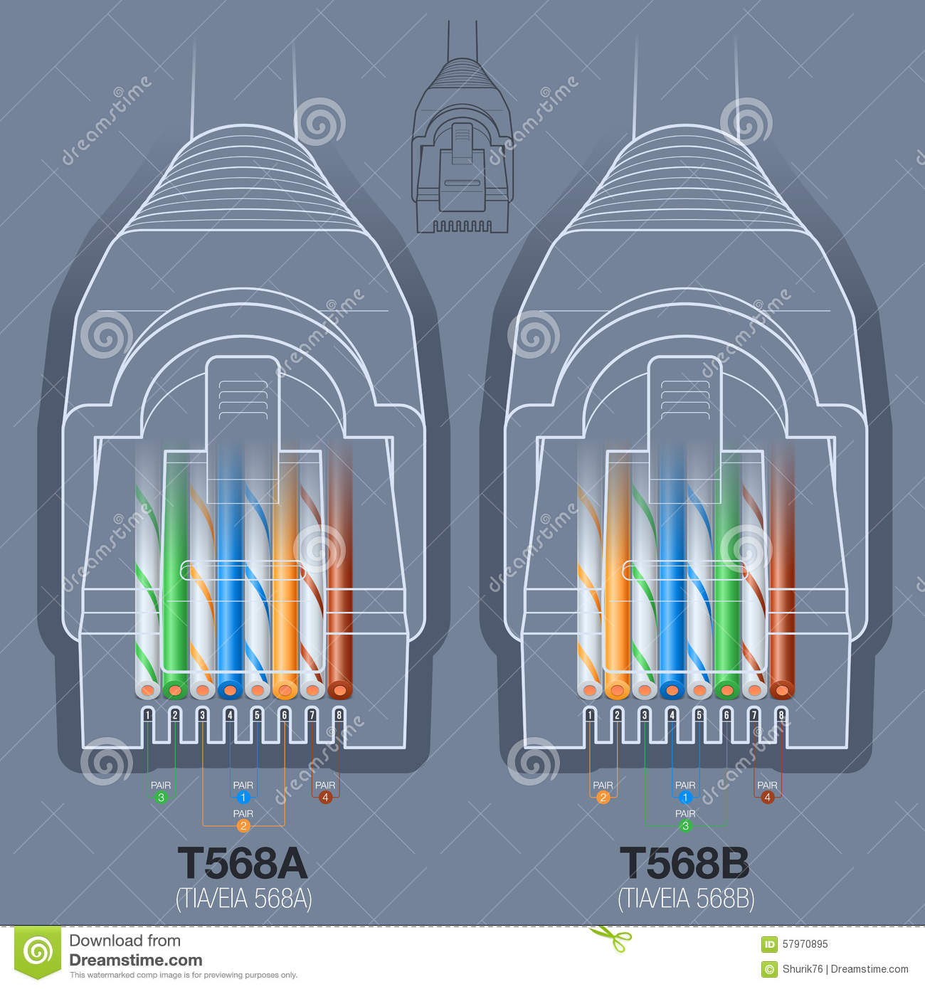 Network Cable Connector Wiring Diagram Stock Vector - Illustration - Network Cable Wiring Diagram