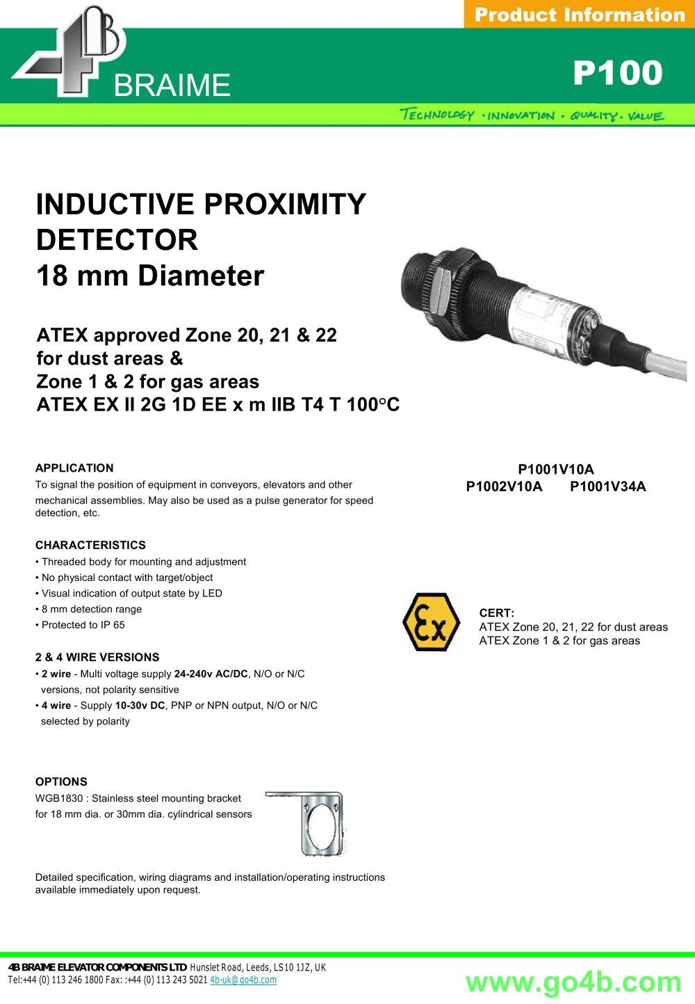 P100 - Inductive Proximity Sensor 18Mm - 4B Braime Components - Pdf - 2 Wire Speed Sensor Wiring Diagram