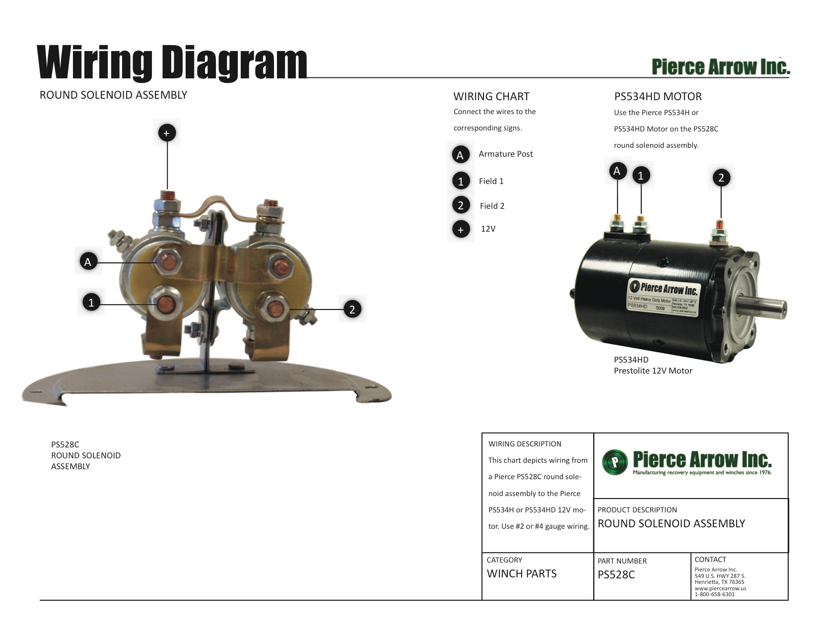 Pierce Arrow Winch Diagrams - Solenoid Wiring Diagram