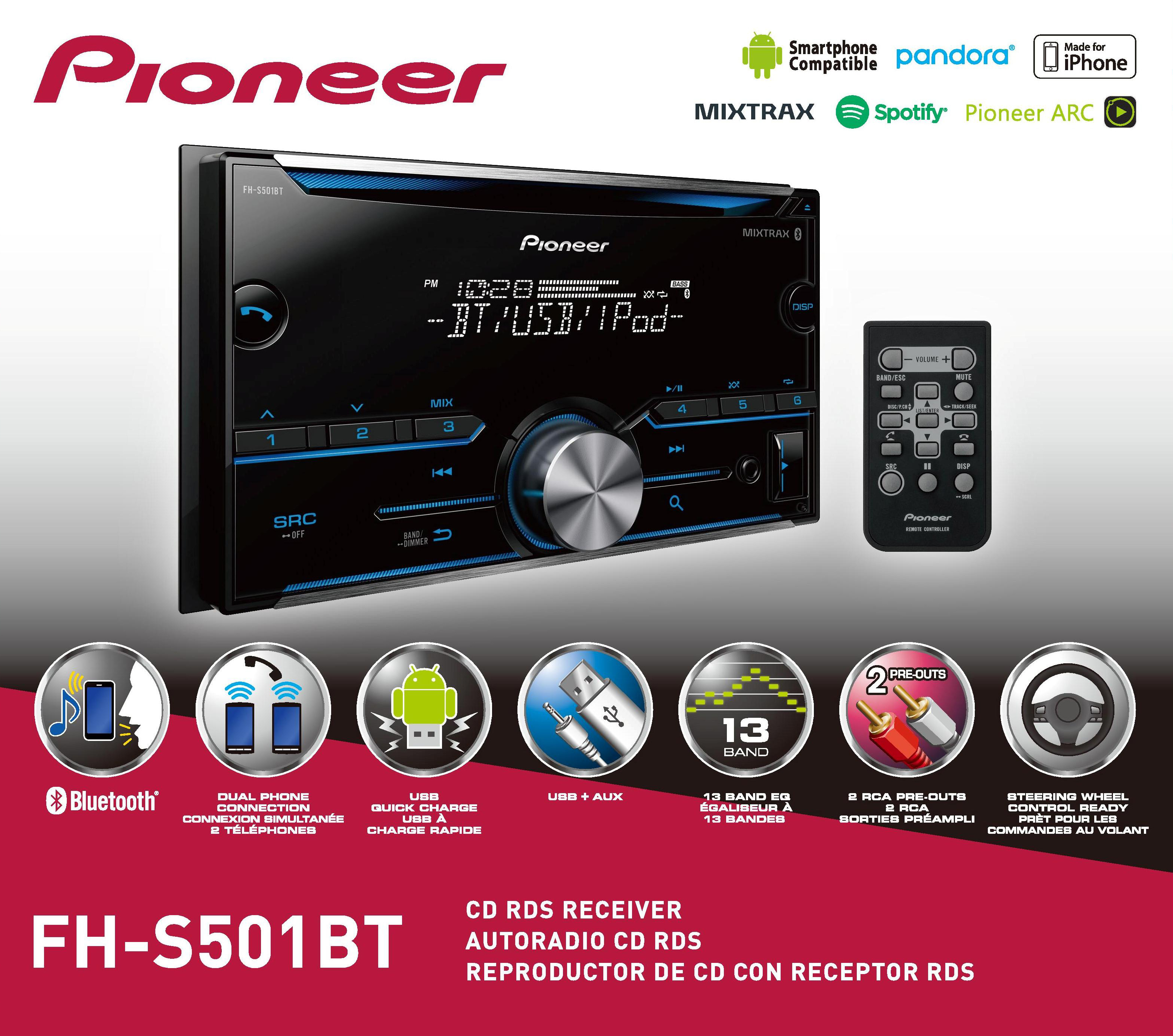 Pioneer Fh-S501Bt Bluetooth Double Din Sized Receiver - Walmart - Pioneer Fh-S501Bt Wiring Diagram