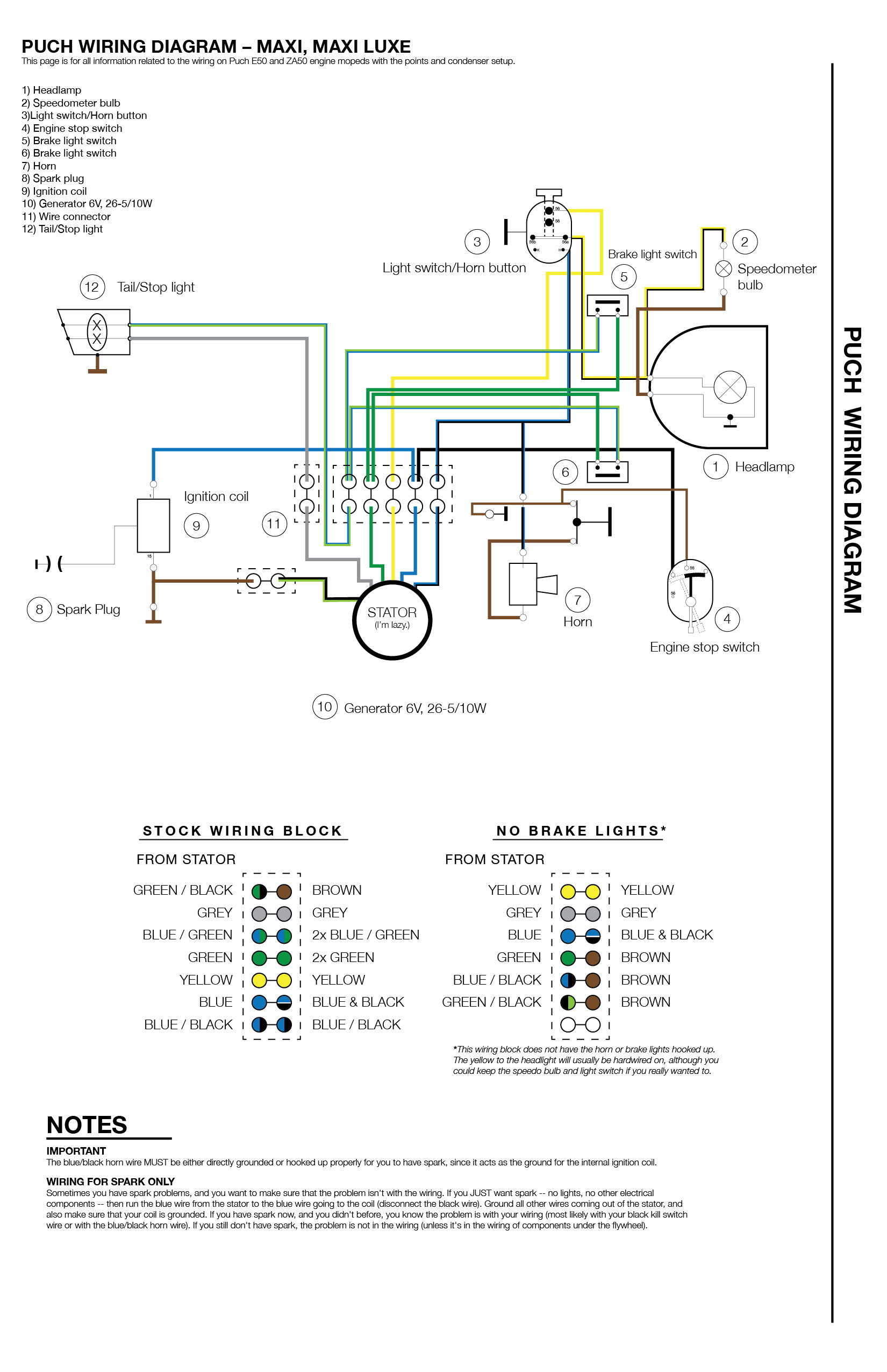 Puch Wiring - Moped Wiki - Brake Light Switch Wiring Diagram