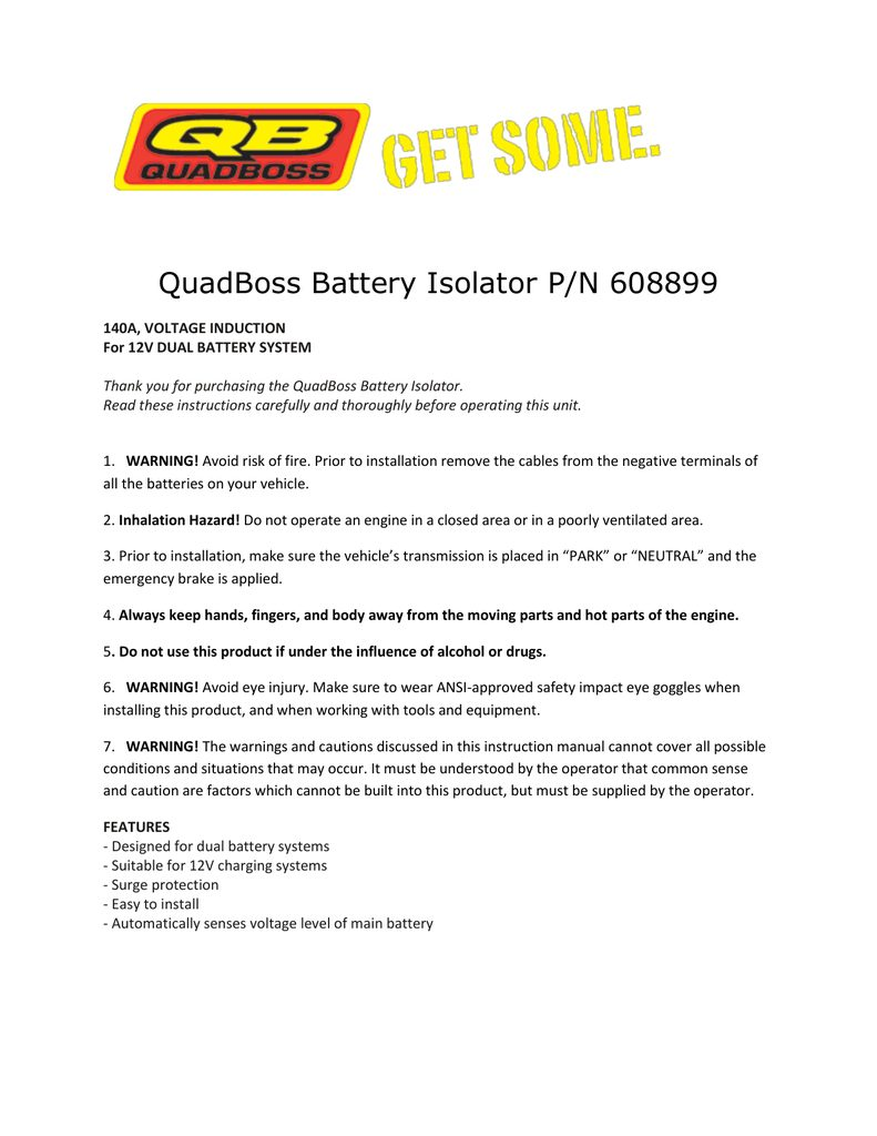Quadboss Battery Isolator P  N 608899