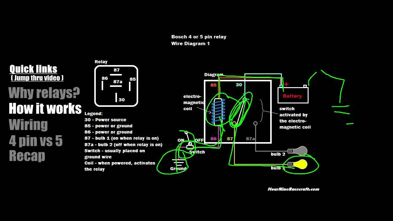 Relay Tutorial: 5 Pin Vs 4 Pin Wiring (Example 1) - Youtube - Bosch 4 Pin Relay Wiring Diagram