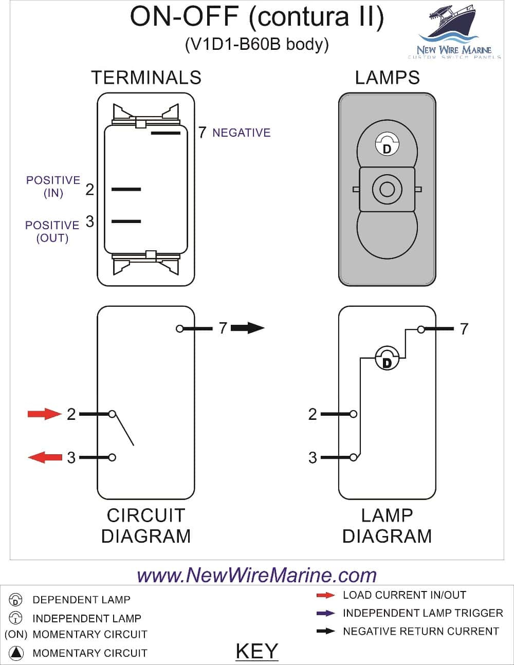 Rocker Switch Wiring Diagrams | New Wire Marine - 8 Pin Rocker Switch Wiring Diagram