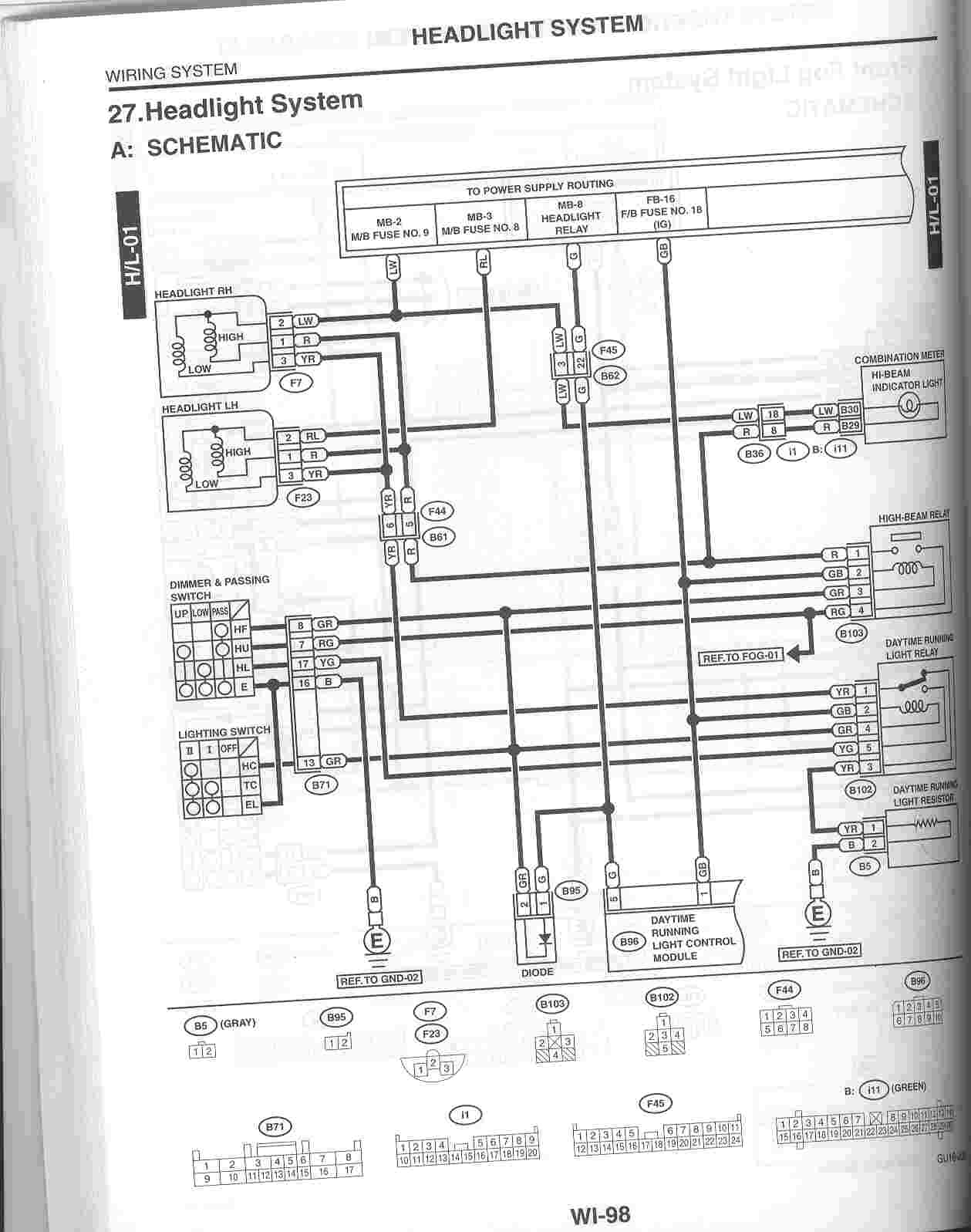 Scan Of Headlight Wiring Diagram From '02 Service Manual - Nasioc - Headlight Relay Wiring Diagram