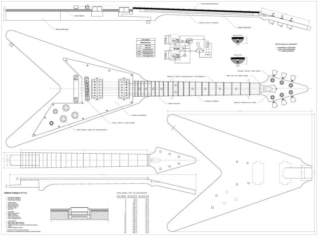 Set Of 4 Electric Guitar Plans - Gibson Flying - V  Gibson Explorer