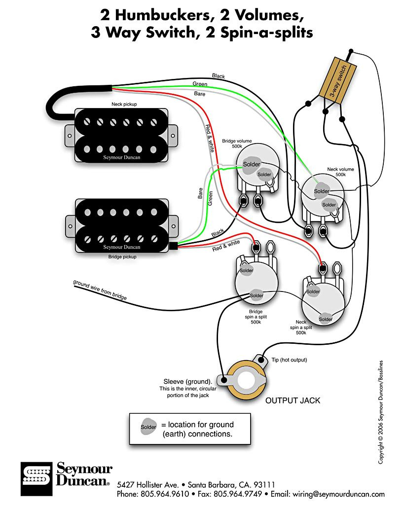 Seymour Duncan Wiring Diagram - 2 Humbuckers, 2 Vol, 3 Way, 2 Spin-A - Seymour Duncan Wiring Diagram