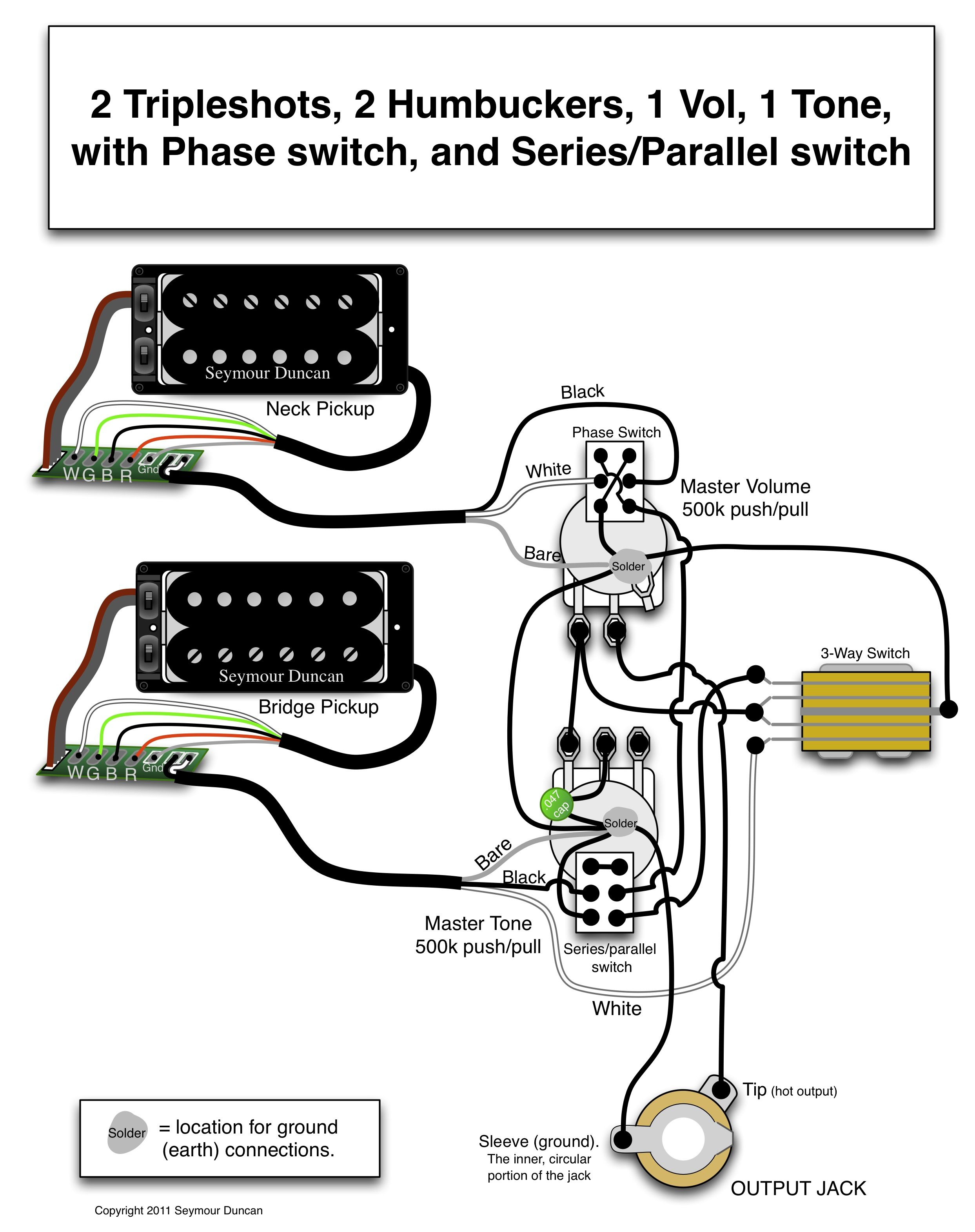 Seymour Duncan Wiring Diagram - 2 Triple Shots, 2 Humbuckers, 1 Vol - Seymour Duncan Wiring Diagram