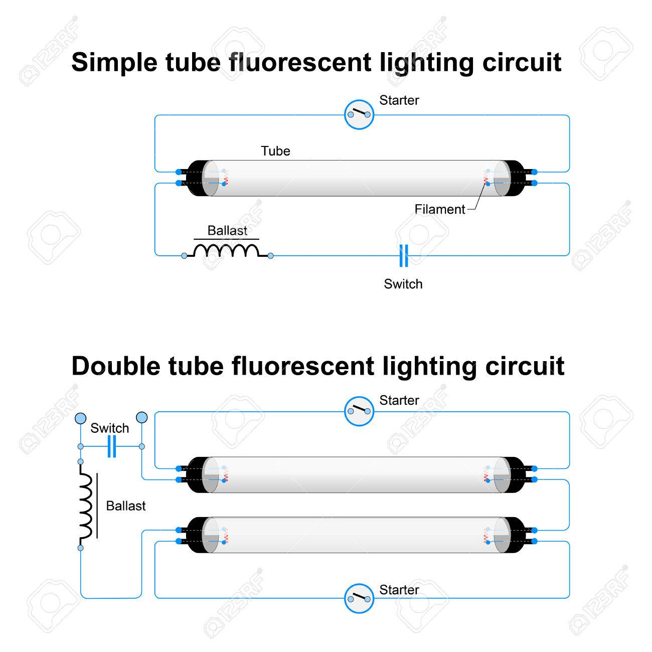 Single And Double Tube Fluorescent Lighting Circuit. Simple Vector - Fluorescent Light Wiring Diagram