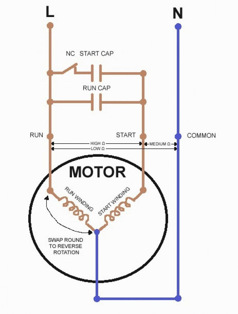 Single Phase Capacitor Start Capacitor Run Motor Wiring Diagram - Single Phase Motor Wiring Diagram With Capacitor