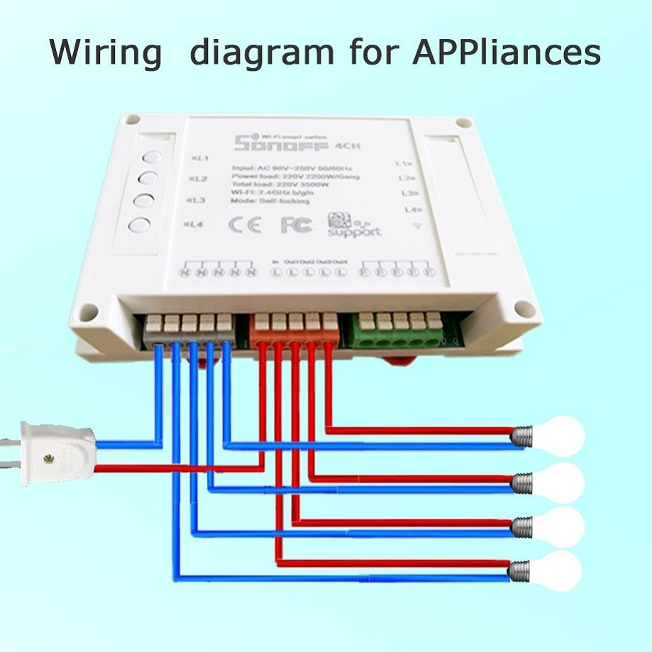 Sonoff 4Ch Itead 4Channels Smart Home Remote Control Wireless - Sonoff Wiring Diagram