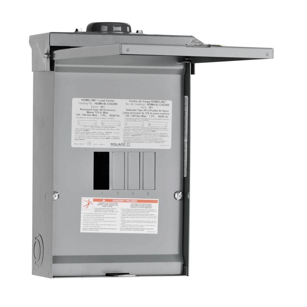 Square D Homeline 125 Amp 4-Space 8-Circuit Outdoor Main Lug Load - Square D 100 Amp Panel Wiring Diagram