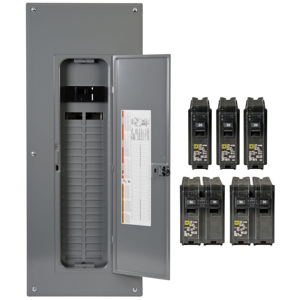 Square D Homeline 200 Amp 40-Space 80-Circuit Indoor Main Breaker - 200 Amp Breaker Box Wiring Diagram