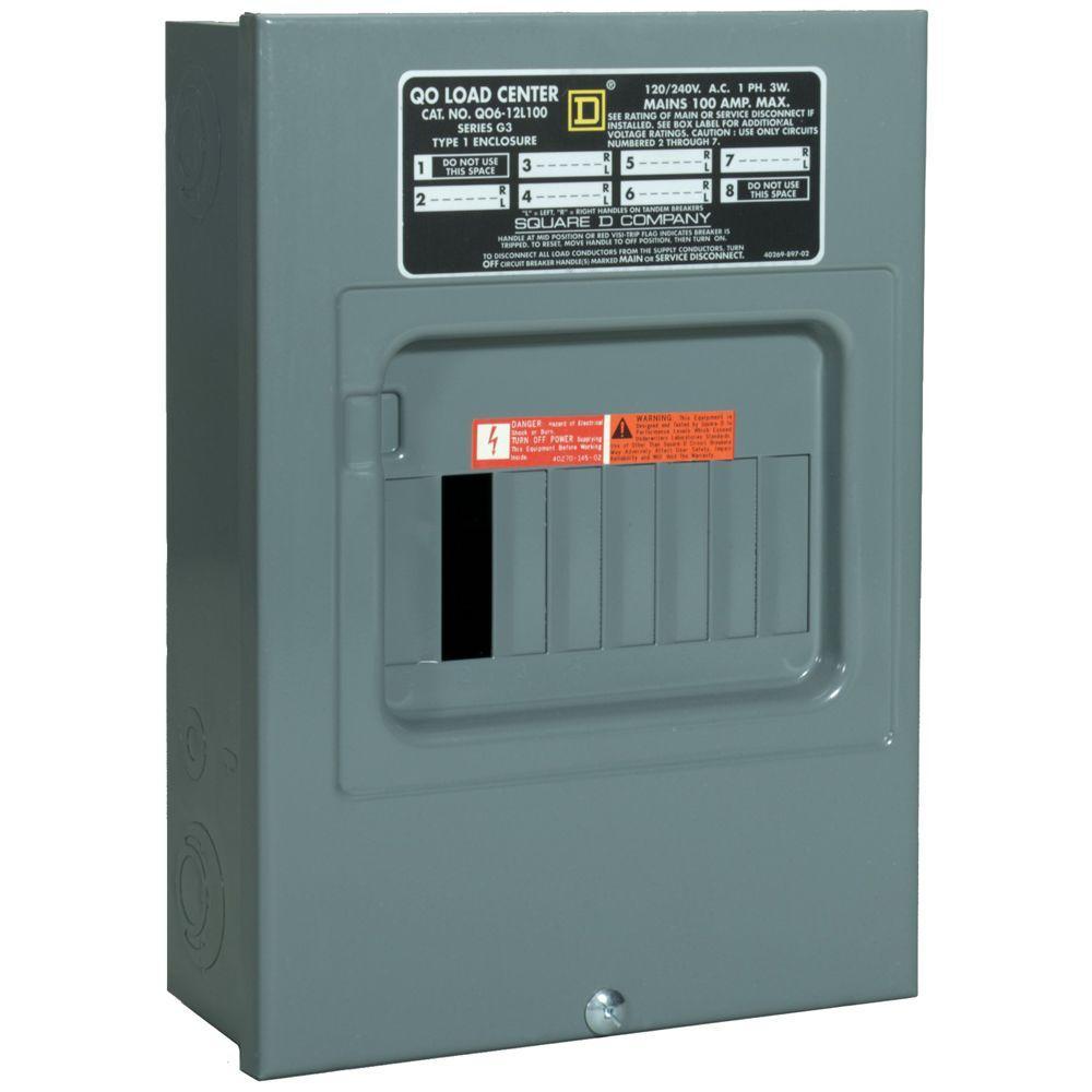 Square D Qo 100 Amp 6-Space 12-Circuit Indoor Main Lug Load Center - Square D 100 Amp Panel Wiring Diagram