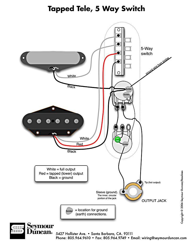 Tele Wiring Diagram, Tapped With A 5 Way Switch | Telecaster Build - Tele Wiring Diagram