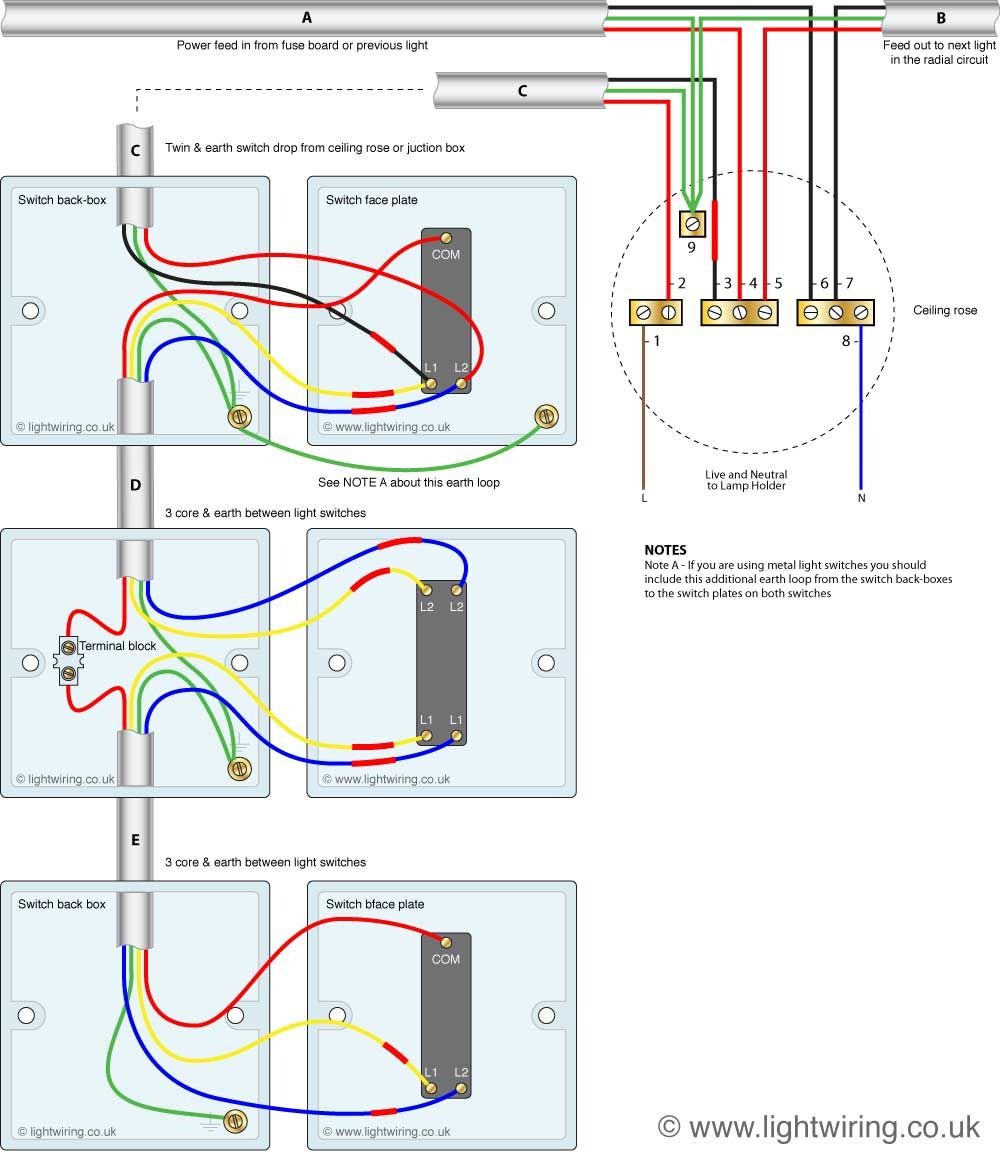 Three Way Light Switching Circuit Diagram (Old Cable Colours - Three Way Light Switch Wiring Diagram