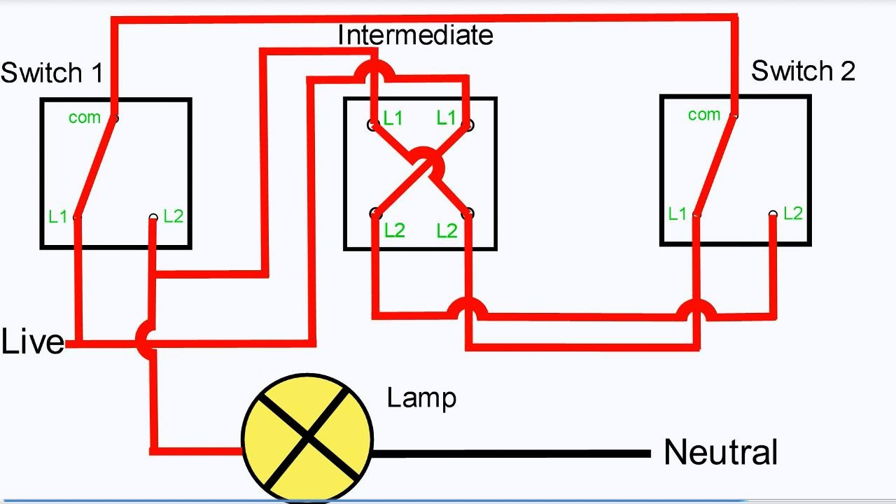 Three Way Light Switching | Intermediate Switch - Youtube - Three Way Switch Wiring Diagram