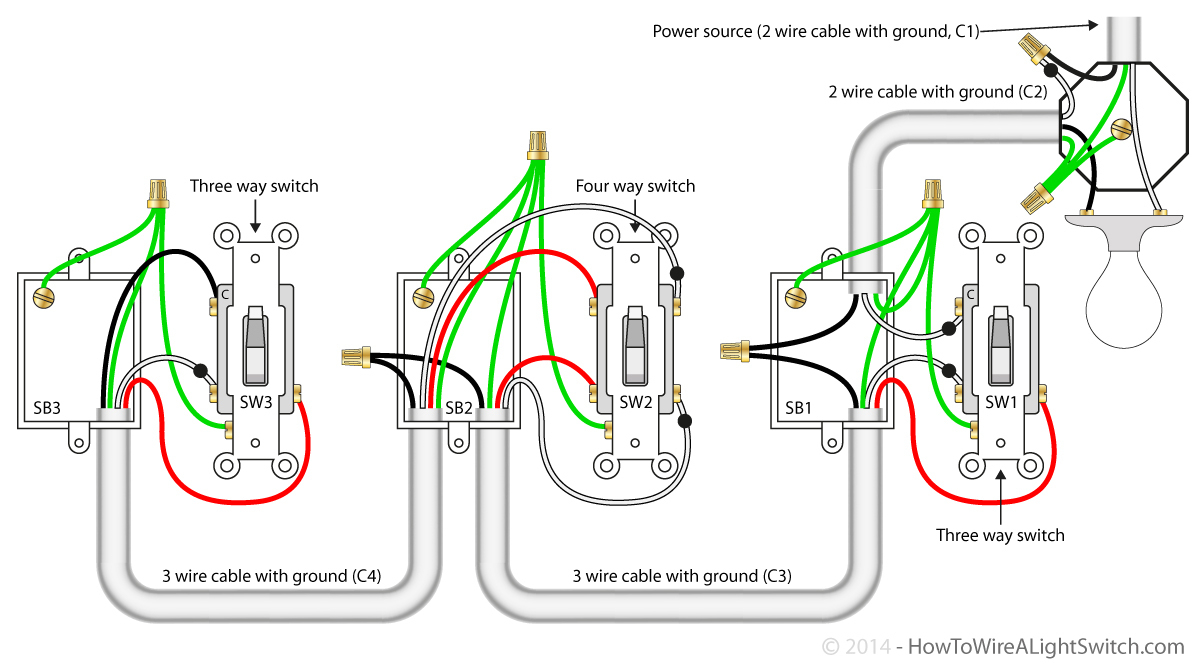 Three Way Switch Wiring Diagram Two Light | Wiring Library - 4-Way Switch Wiring Diagram