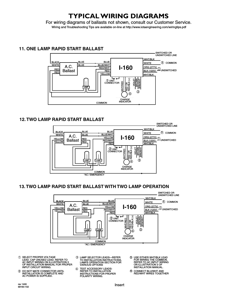 Typical Wiring Diagrams, I-160, A.c. Ballast | Iota I-160 User - Ballast Wiring Diagram