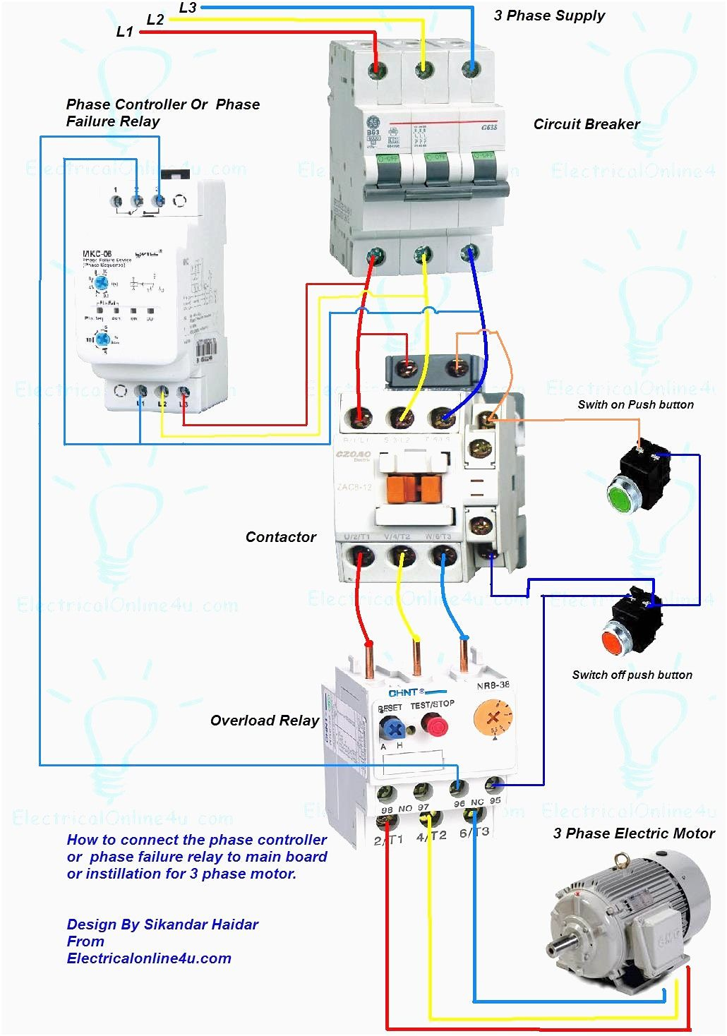 Wiring Diagram For Motor Starter 3 Phase Controller Failure Relay - 3 Phase Motors Wiring Diagram