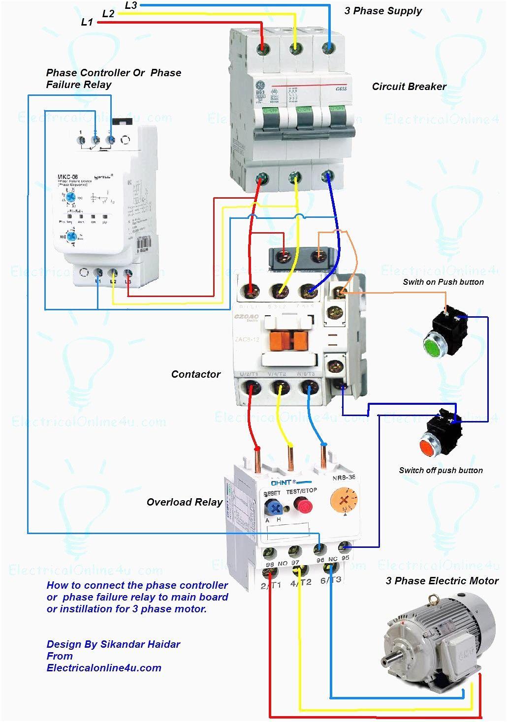 Wiring Diagram For Motor Starter 3 Phase Controller Failure Relay - Three Phase Motor Wiring Diagram