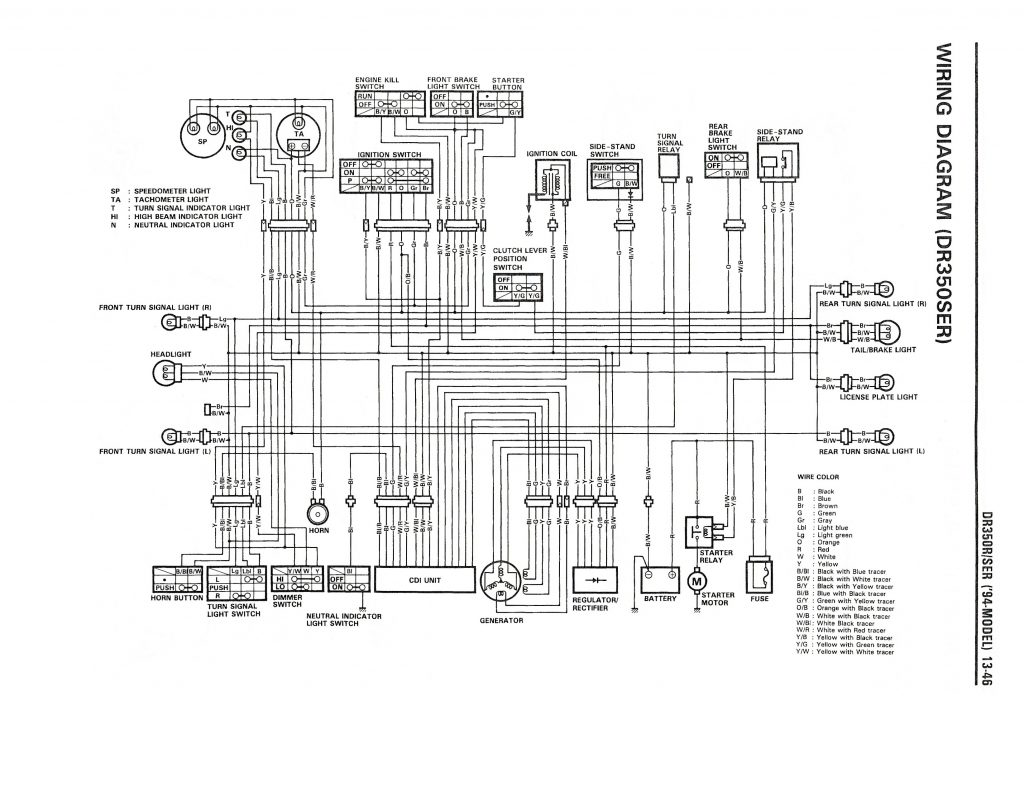 Wiring Diagram For The Dr350 Se  1994 And Later Models