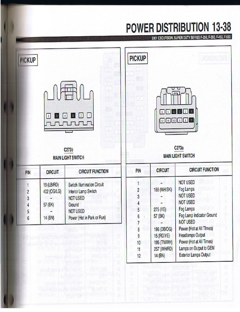 Wiring Pinout For 99-00 And 01-07 Headlight Switch - Ford Truck - Headlight Switch Wiring Diagram
