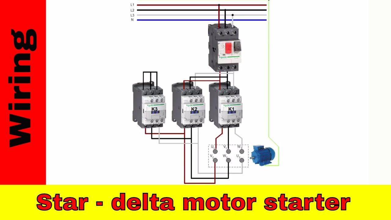 Wiring Star-Delta Motor Starter. Power And Control Circuit. - Youtube - Motor Starter Wiring Diagram